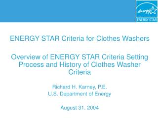 ENERGY STAR Criteria for Clothes Washers