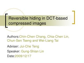 Reversible hiding in DCT-based compressed images