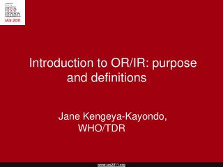 Introduction to OR/IR: purpose and definitions