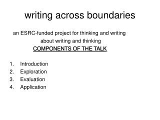 writing across boundaries