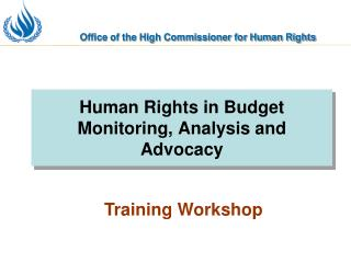 Human Rights in Budget Monitoring, Analysis and Advocacy