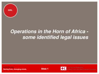 Operations in the Horn of Africa - some identified legal issues