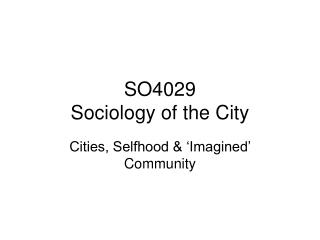 SO4029  Sociology of the City