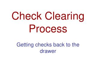 Check Clearing Process