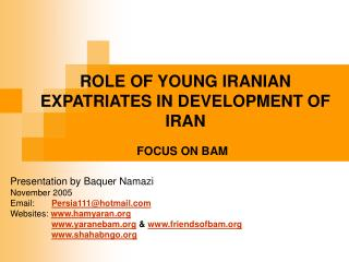 ROLE OF YOUNG IRANIAN EXPATRIATES IN DEVELOPMENT OF IRAN