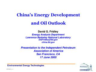 China's Energy Development  and Oil Outlook