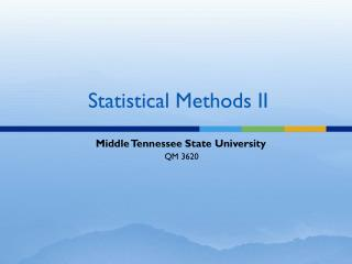 Statistical Methods II