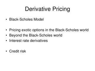 Derivative Pricing