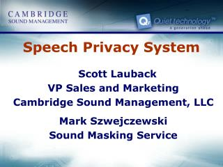 Speech Privacy System
