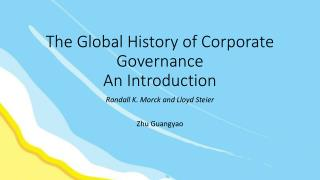 The Global History of Corporate Governance  An Introduction