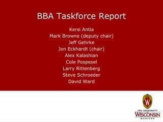 BBA Taskforce Report