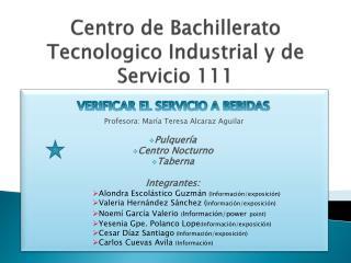 Centro de Bachillerato  Tecnologico  Industrial y de Servicio 111