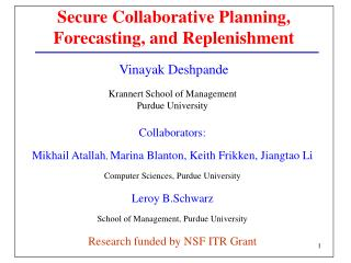 Secure Collaborative Planning, Forecasting, and Replenishment