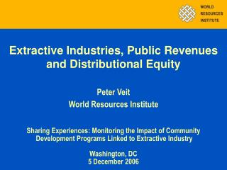 Extractive Industries, Public Revenues and Distributional Equity
