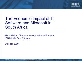The Economic Impact of IT, Software and Microsoft in  South Africa