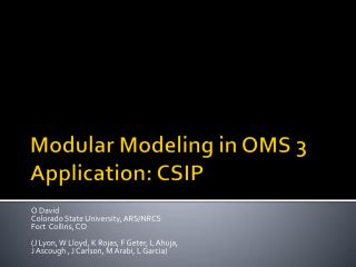Modular Modeling in OMS 3  Application: CSIP