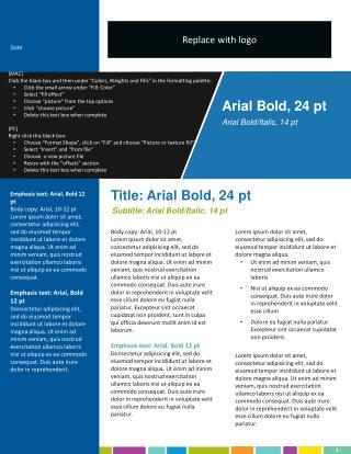 Body copy: Arial, 10-12 pt