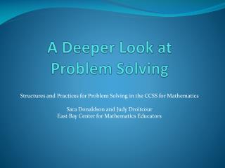 A Deeper Look at  Problem Solving