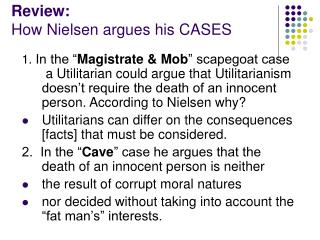 Review:  How Nielsen argues his CASES