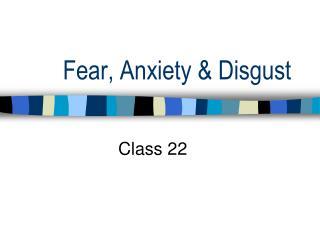 Fear, Anxiety & Disgust