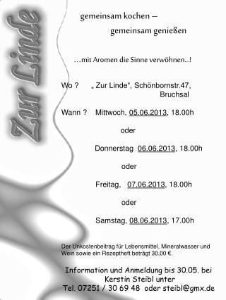 """Wo ?      """" Zur Linde"""", Schönbornstr.47,      Bruchsal"""
