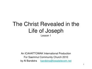 The Christ Revealed in the Life of Joseph Lesson 1