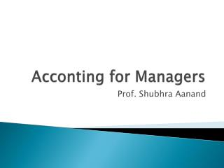 Acconting for Managers