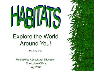 Explore the World Around You! Mrs. Kirkpatrick Modified by Agricultural Education