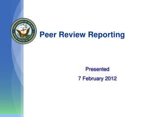 Peer Review Reporting