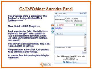 GoToWebinar Attendee Panel