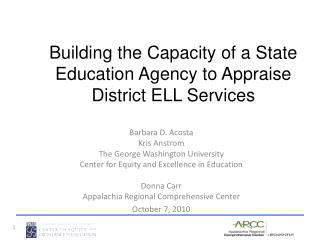 Building the Capacity of a State Education Agency to Appraise District ELL Services