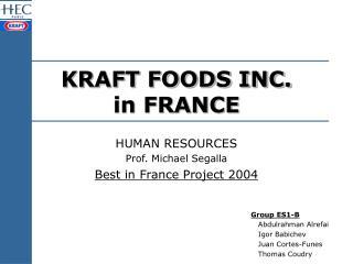 KRAFT FOODS INC. in FRANCE
