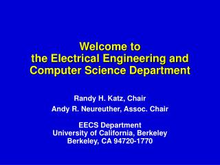 Welcome to the Electrical Engineering and Computer Science Department