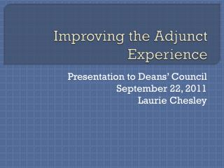 Improving the Adjunct Experience