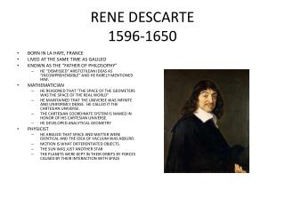 RENE DESCARTE 1596-1650