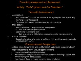 Pre-activity Assignment and Assessment