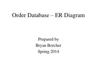 Order Database – ER Diagram