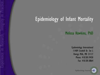 Epidemiology of Infant Mortality