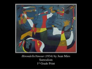Hirondelle/Amour  (1934) by Juan Miro Surrealism 1 st  Grade Print