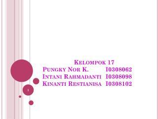Kelompok 17 Pungky  Nor K. I0308062 Intani Rahmadanti I0308098 Kinanti Restianisa I0308102