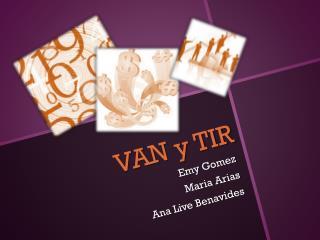 VAN y TIR