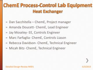 ChemE  Process-Control Lab Equipment Heat Exchanger