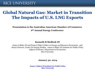 Global Natural Gas: Market in Transition The Impacts of U.S. LNG Exports