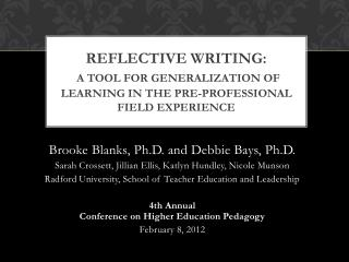 Reflective Writing: a tool for generalization of learning in the pre-professional field experience