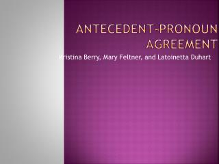 Antecedent-Pronoun Agreement