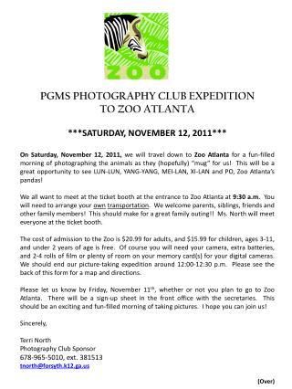 PGMS PHOTOGRAPHY CLUB EXPEDITION  TO ZOO ATLANTA ***SATURDAY, NOVEMBER 12, 2011***
