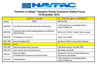 """ Partners in Safety"" Hampton Roads Contractor Safety Forum 15  November 2012"