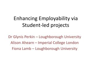 Enhancing Employability via Student-led projects