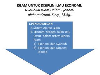 1.PENDAHULUAN Sistem Ajaran  Islam Ekonomi sebagai salah satu unsur dalam sistem ajaran  Islam