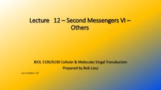 Lecture 	 12  – Second Messengers  VI  –  Others